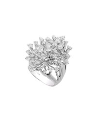 Hueb Luminus 18K White Gold Diamond Wide Stemmed Ring