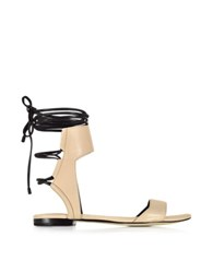3.1 Phillip Lim Martini Light Peach And Black Leather Ankle Lace Flat Sandal Nude