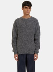 E.Tautz Crew Neck Ribbed Knit Sweater Grey