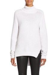 N Nicholas Ribbed Cotton Turtleneck Sweater White