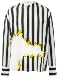 Haider Ackermann Bleach And Stripe Print Shirt Black