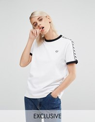Fred Perry Archive Taped Ringer T Shirt White