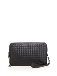 Bottega Veneta Woven Leather Document Case Black