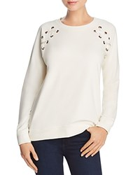 Aqua Lace Up Sleeve Sweatshirt 100 Exclusive Ivory