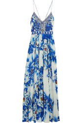 Camilla Crystal Embellished Printed Silk And Crepe De Chine Maxi Dress Blue