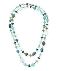 Sheryl Lowe Aquamarine Kyanite And Labradorite Necklace With Diamonds