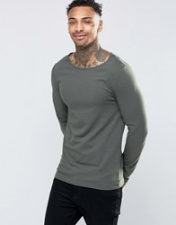Asos Extreme Muscle Long Sleeve T Shirt With Boat Neck In Khaki Khaki Green