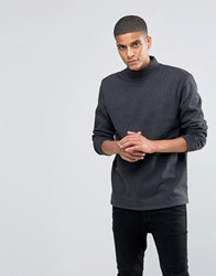Solid Turtle Neck Jersey Sweat Dark Grey 8000