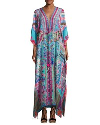 Camilla Embellished Long Lace Up Silk Caftan Coverup Turquoise Pink Multi