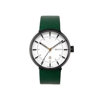Bravur Watches Black With White Face And Green Strap