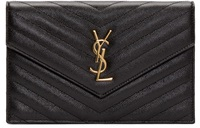 Saint Laurent Black Quilted Monogram Chain Wallet