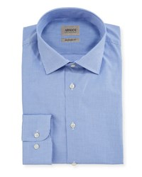 Armani Collezioni Mini Check Cotton Shirt Blue White