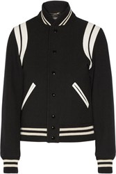Saint Laurent Leather Trimmed Wool Blend Bomber Jacket Black