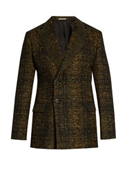 Bottega Veneta Double Breasted Wool Blend Tweed Blazer Black Multi