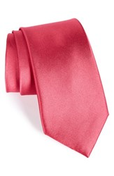 Men's Nordstrom Men's Shop Solid Satin Silk Tie Raspberry