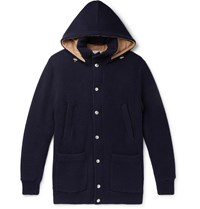 Brunello Cucinelli Padded Ribbed Cashmere Hooded Cardigan Blue