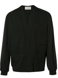 Christophe Lemaire V Neck Bomber Jacket Black
