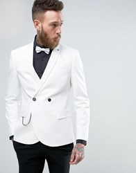 Noose And Monkey Double Breasted Superskinny Suit Jacket White