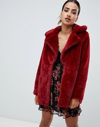 Missguided Faux Fur Coat In Red Deep Red