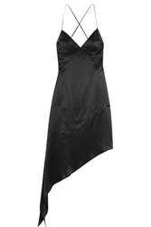 Givenchy Open Back Midi Dress In Black Silk Satin