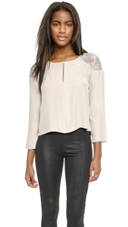 David Lerner Lace Pleat Blouse Stone