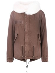 Mr And Mrs Italy Trimmed Hood Short Parka Brown