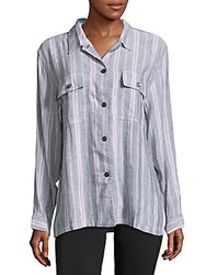 Rails Everett Striped Linen Blend Casual Button Down Shirt Indigo Red