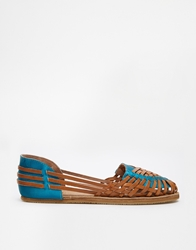 Bronx Hurrache Woven Flat Shoes Midbrownblueleat