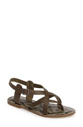 Lucky Brand Women's Adinis Flat Sandal Ivy Green Leather