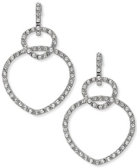 Sis By Simone I Smith Platinum Over Sterling Silver Earrings Crystal Double Teardrop Drop Earrings