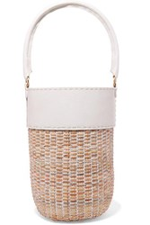 Kayu Lucie Leather And Straw Tote White