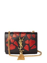 Saint Laurent Kate Small Heart Applique Leather Cross Body Bag Black Red