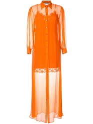 Alberta Ferretti Sheer Layered Dress Orange