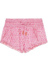 Paloma Blue Ruffled Printed Shirred Silk Satin Shorts Pink
