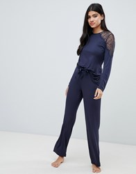 Ted Baker B By Signature Jersey And Lace Pant Black