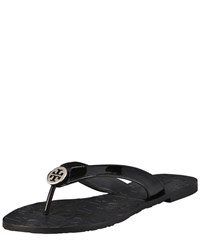 Thora Patent Leather Thong Sandal Tory Burch Black Silver