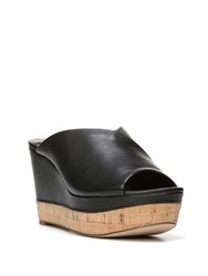 Diane Von Furstenberg Manila Leather Wedge Sandals Black