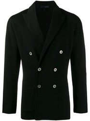 Lardini Double Breasted Fitted Jacket Black