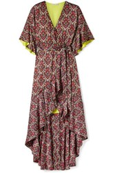 Alice Olivia Dani Ruffled Printed Crepe De Chine Wrap Dress Red