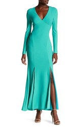Christian Siriano New York Long Sleeve Backless Stretch Crepe Dress Green