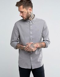 Farah Shirt With Textured Weave In Regular Fit Gravel Grey