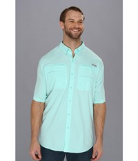 Columbia Tamiami Ii S S Tall Gulf Stream Men's Short Sleeve Button Up Blue