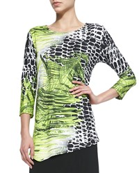 Caroline Rose Crocodile Twist 3 4 Sleeve Top Petite Multi Black