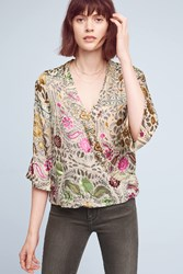 Anthropologie Flower Paisley Wrap Blouse Gold