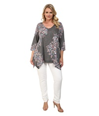 Nally And Millie Plus Size Butterfly Tunic Black Multi Women's Blouse