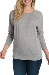 Bun Maternity Blissful Cross Back Nursing Pullover Heather Gray