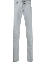 Jacob Cohen Striped Straigh Fit Jeans White