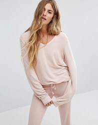 Wildfox Couture Baggy Beach V Neck Jumper Rose Smoke Pink