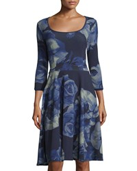 Melissa Masse Floral Print 3 4 Sleeve Dress Lapis Rose