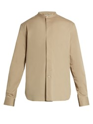 Christophe Lemaire Stand Collar Stretch Cotton Shirt Beige